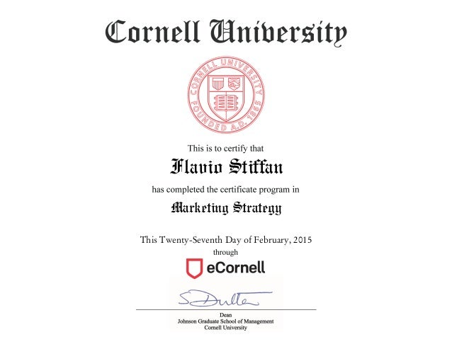 Cornell Master of Marketing Certificate