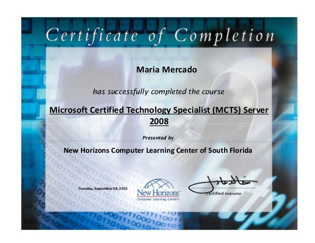 Maria Mercado Mcts Certificate Of Completion