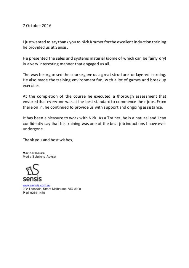 thank you letter for help and support at work