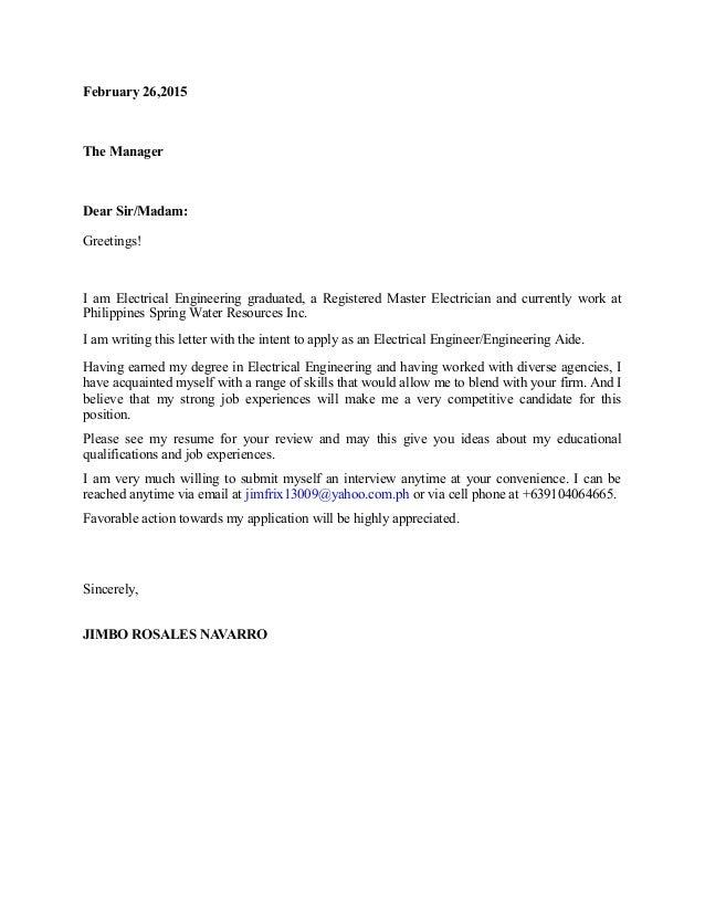 february 262015 the manager dear sirmadam greetings