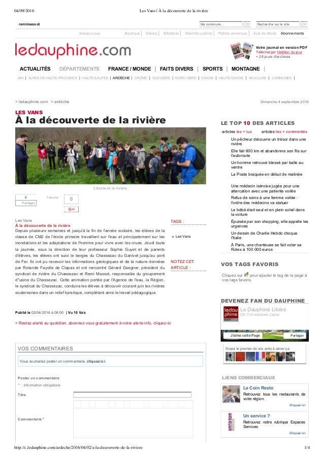 04/09/2016 Les Vans | À la découverte de la rivière http://c.ledauphine.com/ardeche/2016/04/02/a-la-decouverte-de-la-rivie...