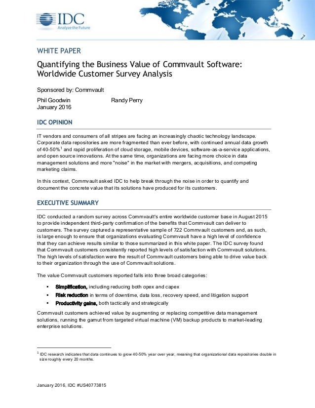 The Business Value of Commvault Software IDC 2016 US40773815