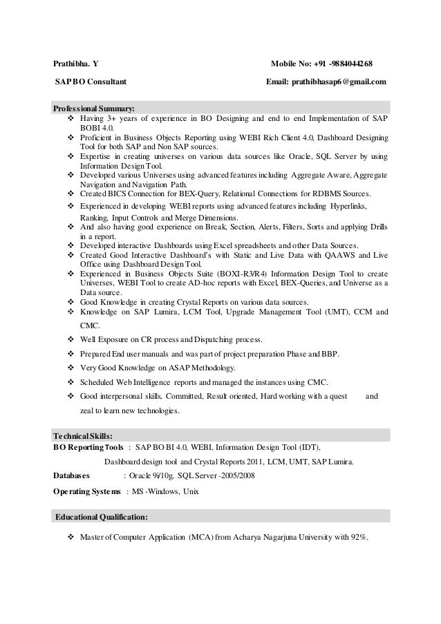 sap bo resume