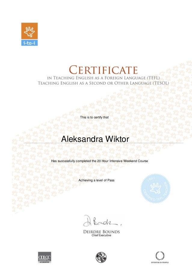 Tefl Tesol Certificate