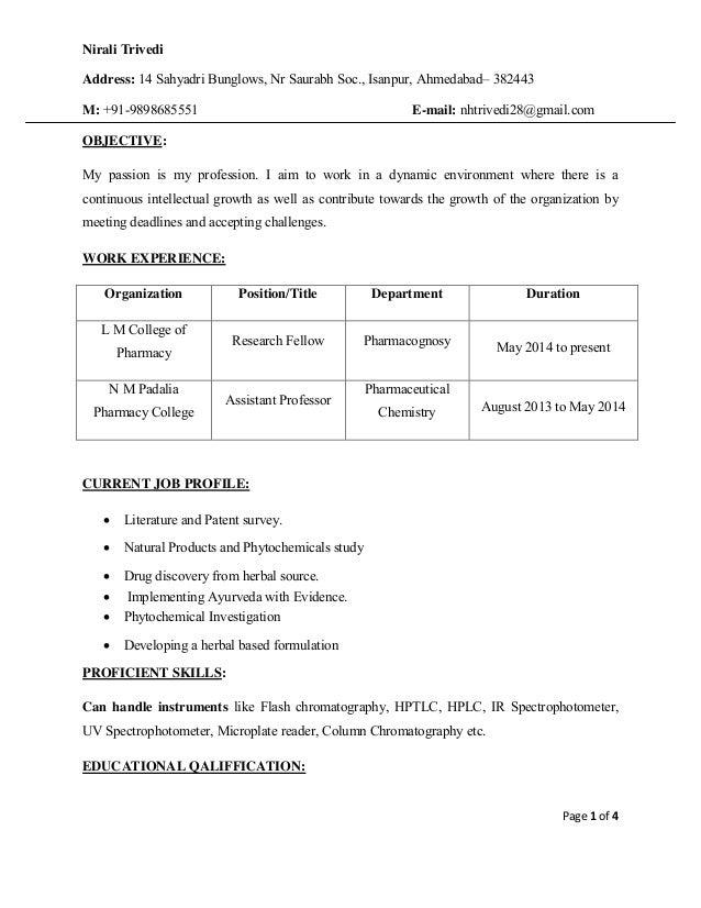 Page 1 of 4 Nirali Anuj Patel Address: 14 Sahyadri Bunglows, Nr Saurabh Soc., Isanpur, Ahmedabad– 382443 M: +91-9898685551...