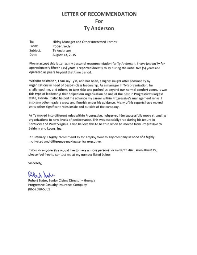 Rob Seder Recommendation Letter for Ty Anderson