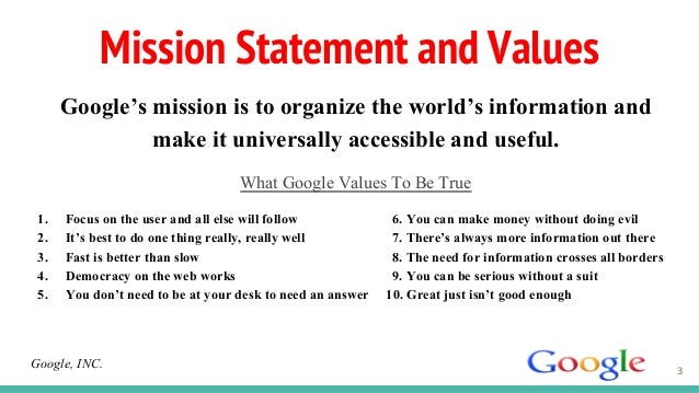 googles mission and values an analysis Google bases nearly everything off data, and while some of what's below may work best only for google, there are surely other areas that can work for all companies.