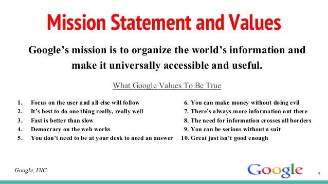 Google mission statement