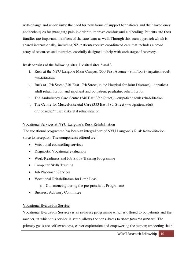 WCMT Fellowship Report - Specialist Spinal Vocational
