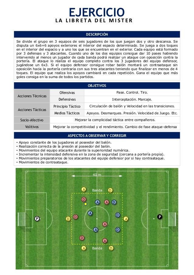 EJERCICIO  L A  L I B R E T A  D E L  M I S T E R  Se divide el grupo en 3 equipos de seis jugadores de los que juegan dos...