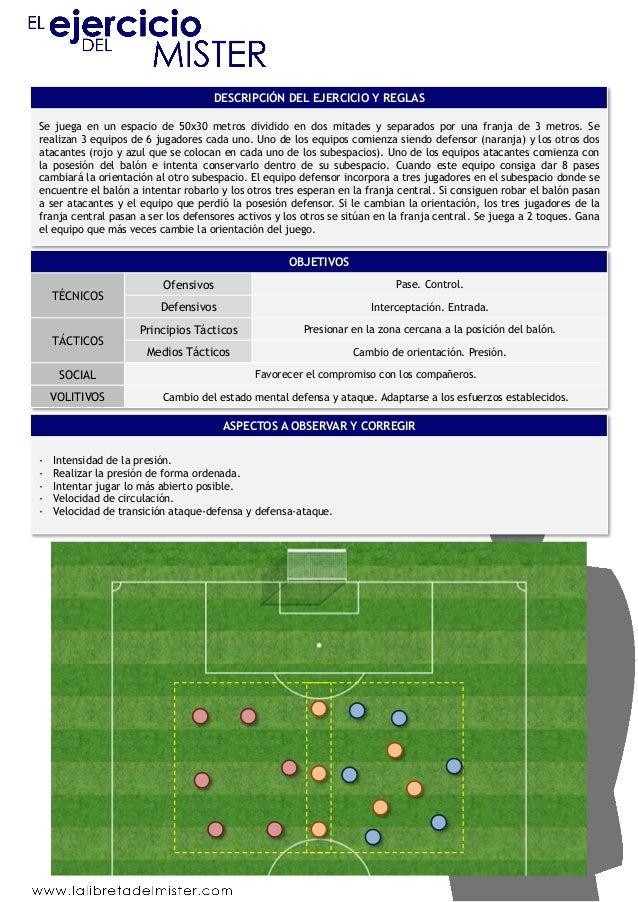 DESCRIPCIÓN DEL EJERCICIO Y REGLAS  Se juega en un espacio de 50x30 metros dividido en dos mitades y separados por una fra...