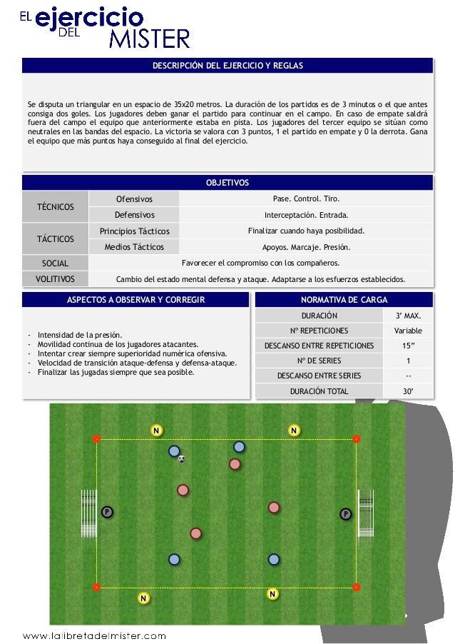 DESCRIPCIÓN DEL EJERCICIO Y REGLAS  Se disputa un triangular en un espacio de 35x20 metros. La duración de los partidos es...