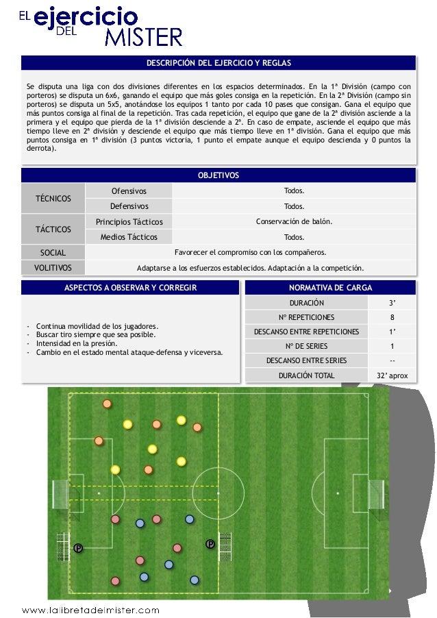 DESCRIPCIÓN DEL EJERCICIO Y REGLAS  Se disputa una liga con dos divisiones diferentes en los espacios determinados. En la ...
