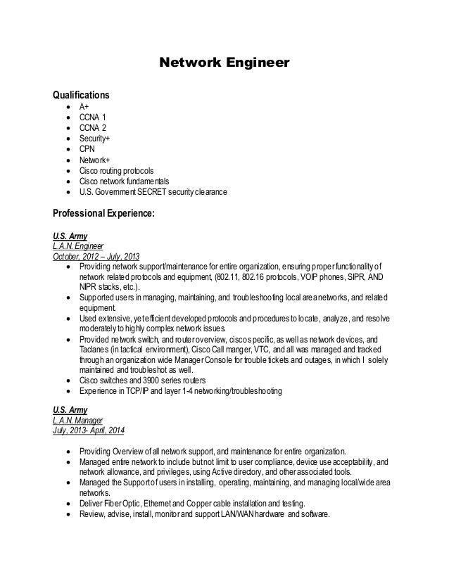 jr network engineer resume