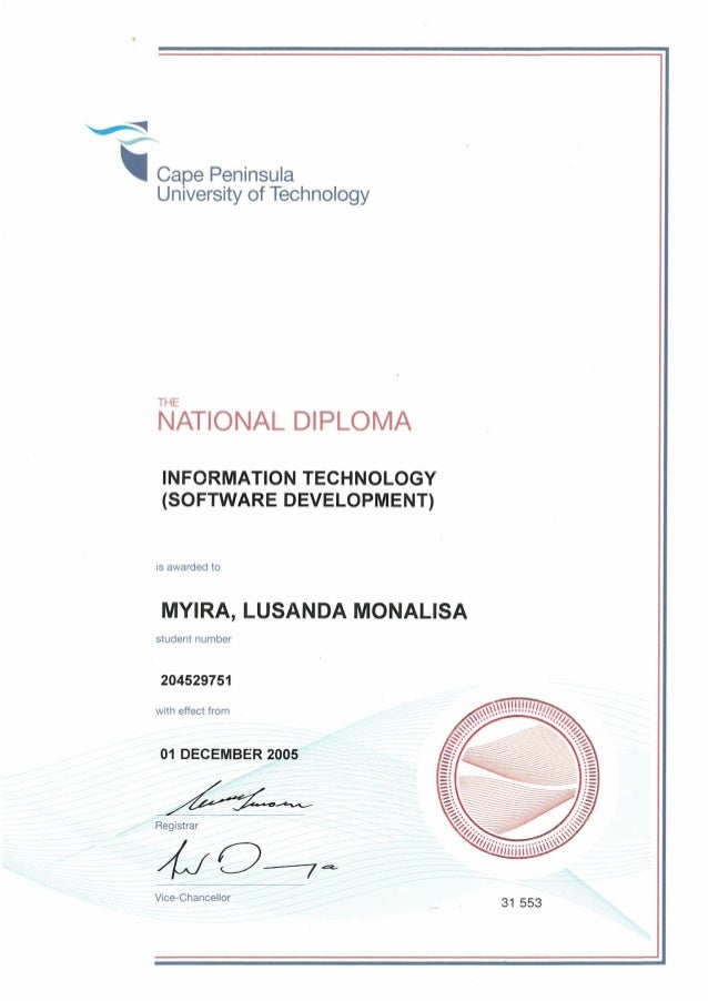 diploma information technology national diploma information technology