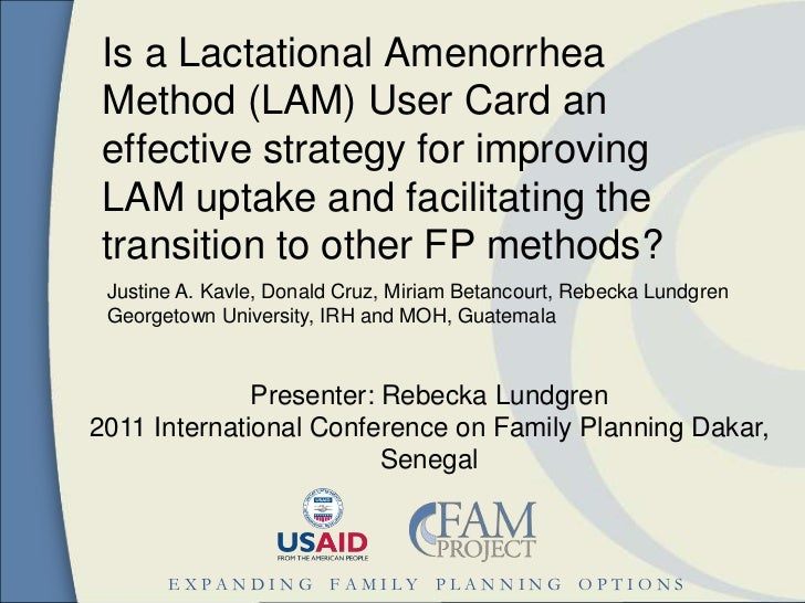 Is a Lactational Amenorrhea Method (LAM) User Card an effective strategy for improving LAM uptake and facilitating the tra...