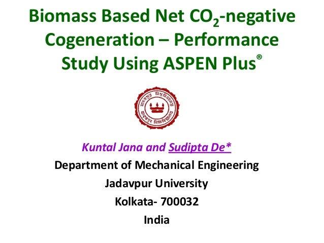 Biomass Based Net CO2-negative Cogeneration – Performance Study Using ASPEN Plus®  Kuntal Jana and Sudipta De* Department ...