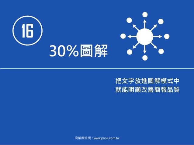 16 30%圖解 把文字放進圖解模式中 就能明顯改善簡報品質 商業簡報網 / www.pook.com.tw