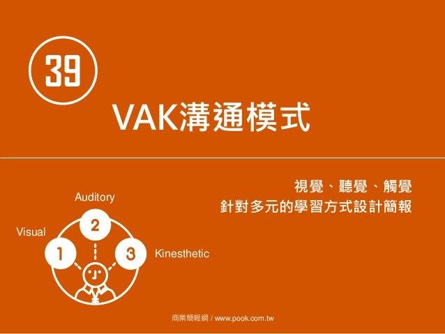 39 VAK溝通模式 視覺、聽覺、觸覺 針對多元的學習方式設計簡報 商業簡報網 / www.pook.com.tw Visual Auditory Kinesthetic