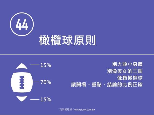 44 橄欖球原則 別大頭小身體 別像美女的三圍 像顆橄欖球 讓開場、重點、結論的比例正確 商業簡報網 / www.pook.com.tw 15% 15% 70%