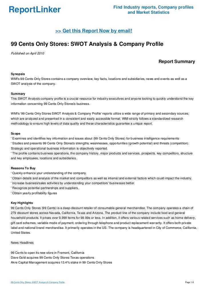 99 Cents Only Stores SWOT Analysis Company Profile