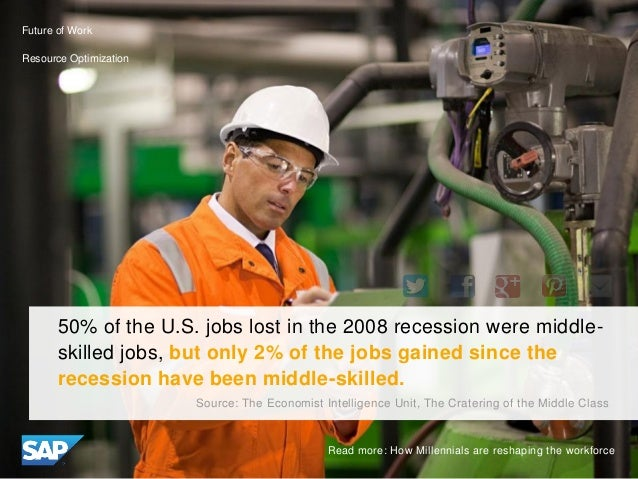 50% of the U.S. jobs lost in the 2008 recession were middle- skilled jobs, but only 2% of the jobs gained since the recess...