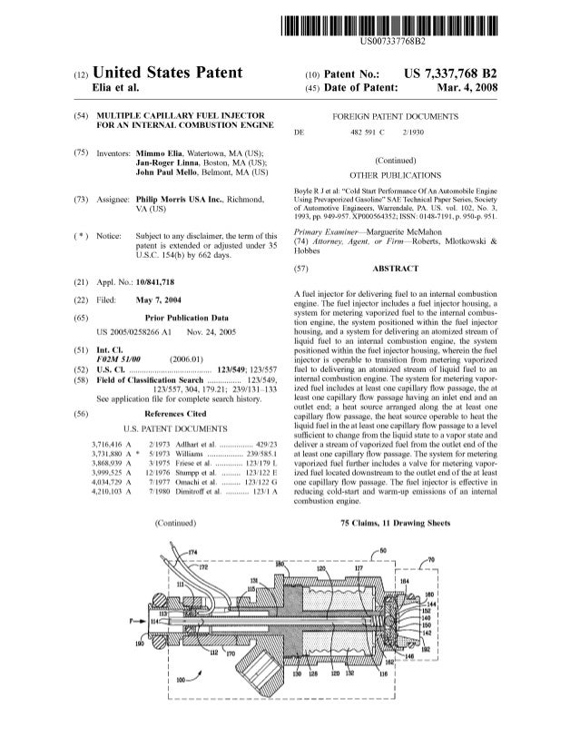 c12) United States Patent Elia et al. (54) MULTIPLE CAPILLARY FUEL INJECTOR FOR AN INTERNAL COMBUSTION ENGINE (75) Invento...
