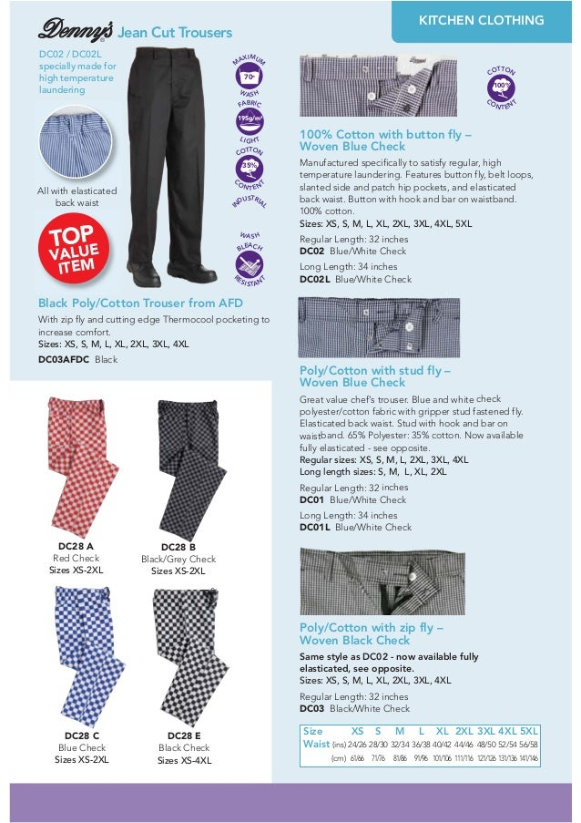 Adjustable Waist Dennys Unisex Check Chefs Trousers 3 Colours