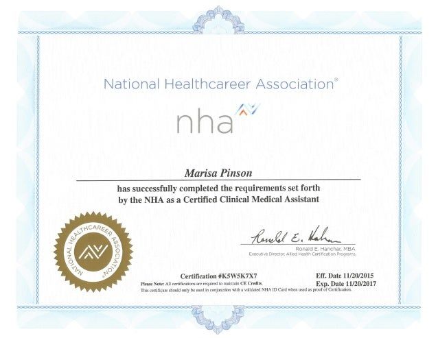 Exceptional NHA Clinical Medical Assistant Certificate   Marisa Pinson