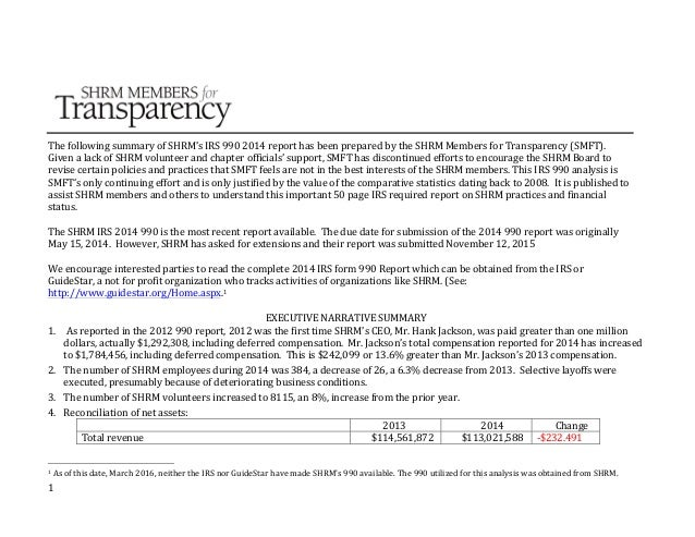 1            The  following  summary  of  SHRM's  IRS  990  2014  report  has  been  prepare...