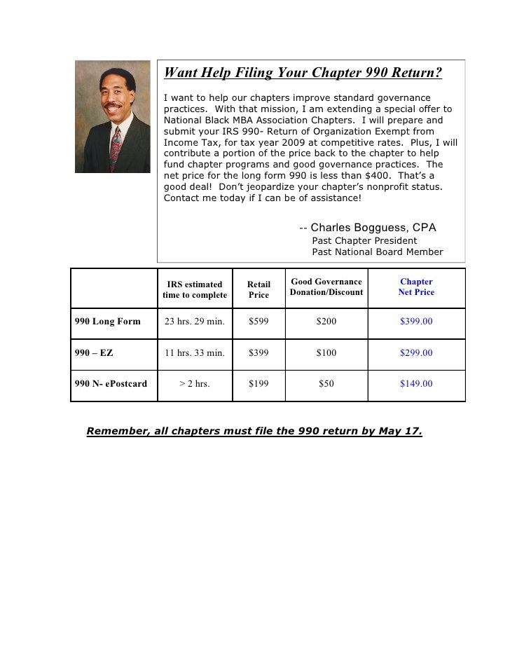 Want Help Filing Your Chapter 990 Return?                     I want to help our chapters improve standard governance     ...