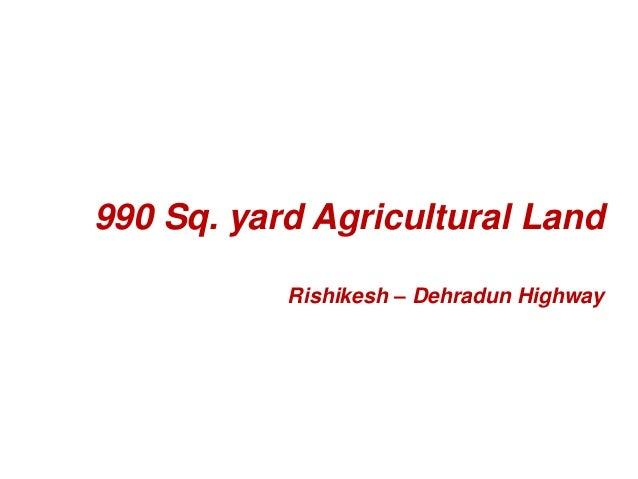 990 Sq. yard Agricultural Land  Rishikesh – Dehradun Highway