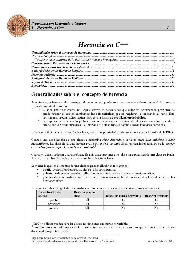 Programación Orientada a Objetos 5 – Herencia en C++  -1-  Herencia en C++ Generalidades sobre el concepto de herencia ......