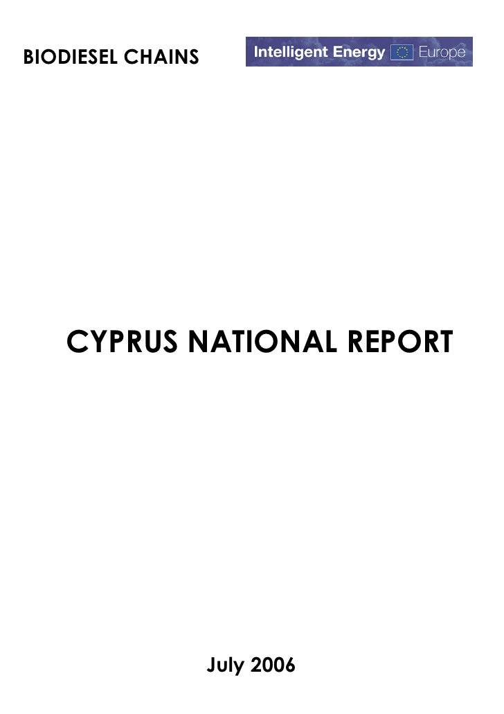BIODIESEL CHAINS   CYPRUS NATIONAL REPORT                   July 2006