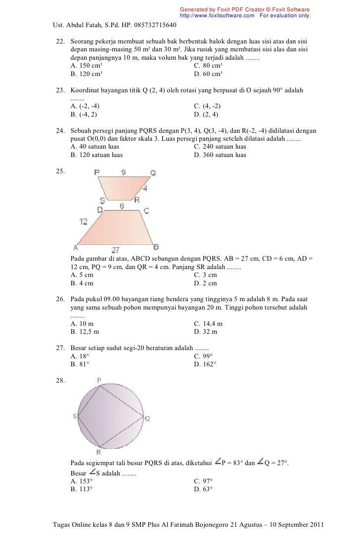 Soal Kelas 8 Dan 9