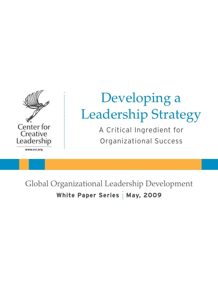 Developing a               Leadership Strategy                    A Critical Ingredient for                    Organizatio...