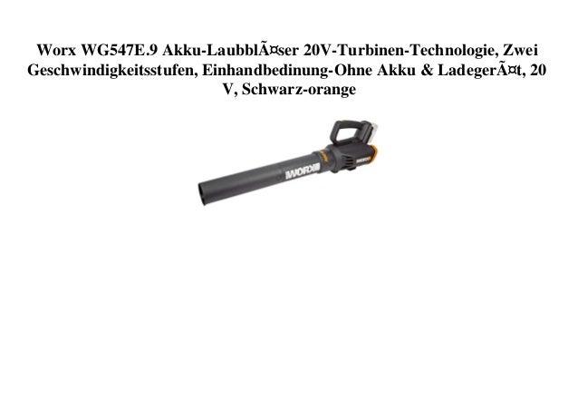Worx WG547E.9 Akku-Laubbläser 20V-Turbinen-Technologie, Zwei Geschwindigkeitsstufen, Einhandbedinung-Ohne Akku & Ladegerät...