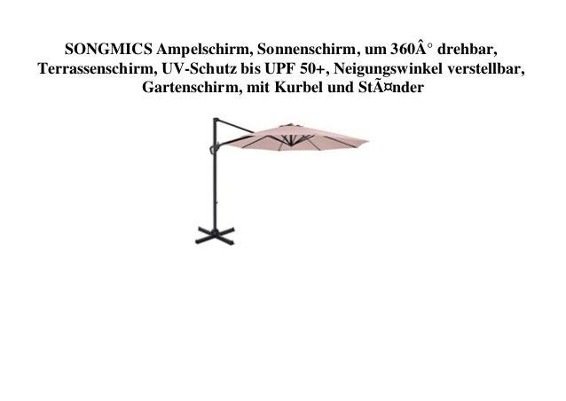 SONGMICS Ampelschirm, Sonnenschirm, um 360° drehbar, Terrassenschirm, UV-Schutz bis UPF 50+, Neigungswinkel verstellbar, G...