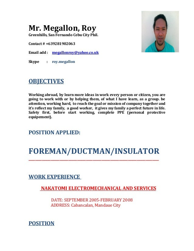 MY NEW RESUME ROY DIOLAN MEGALLON. Mr. Megallon, Roy Greenhills, San  Fernando Cebu City Phil.  My New Resume