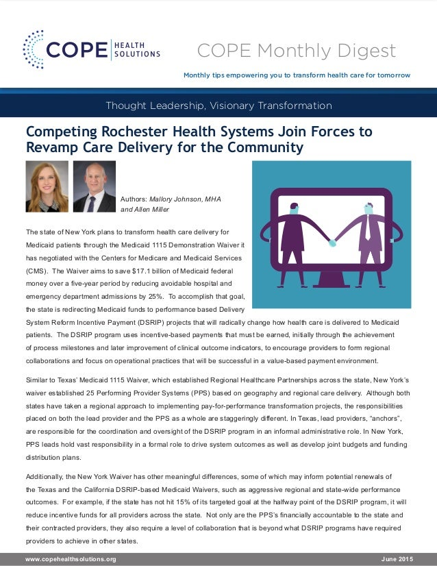 Competing Rochester Health Systems Join Forces to Revamp Care Delivery for the Community The state of New York plans to tr...