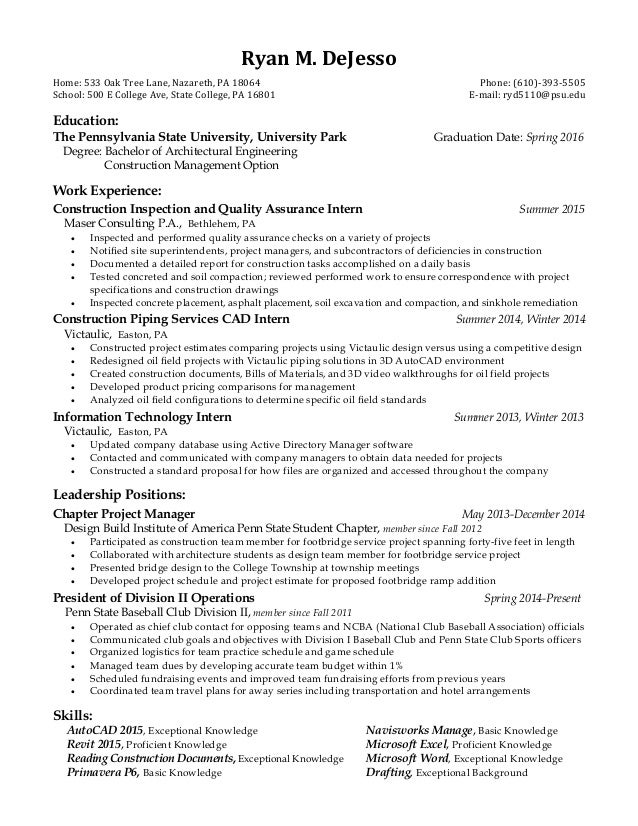 Ryan M  DeJesso Resume- The Pennsylvania State University