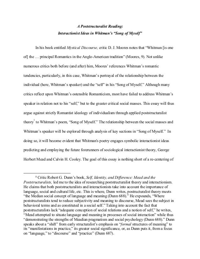 "whitman song of myself final paper docx a poststructuralist reading interactionist ideas in whitman s ""song of myself"" in his book"
