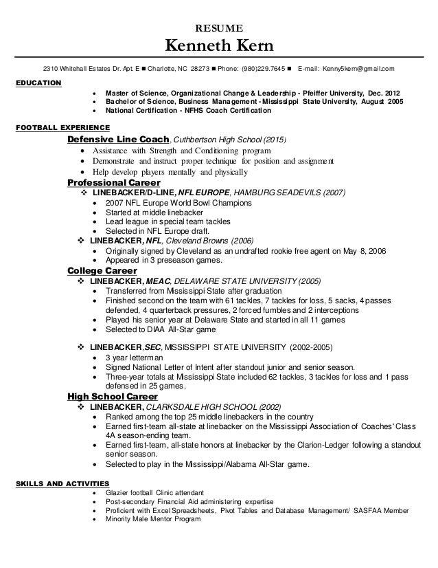 football resume