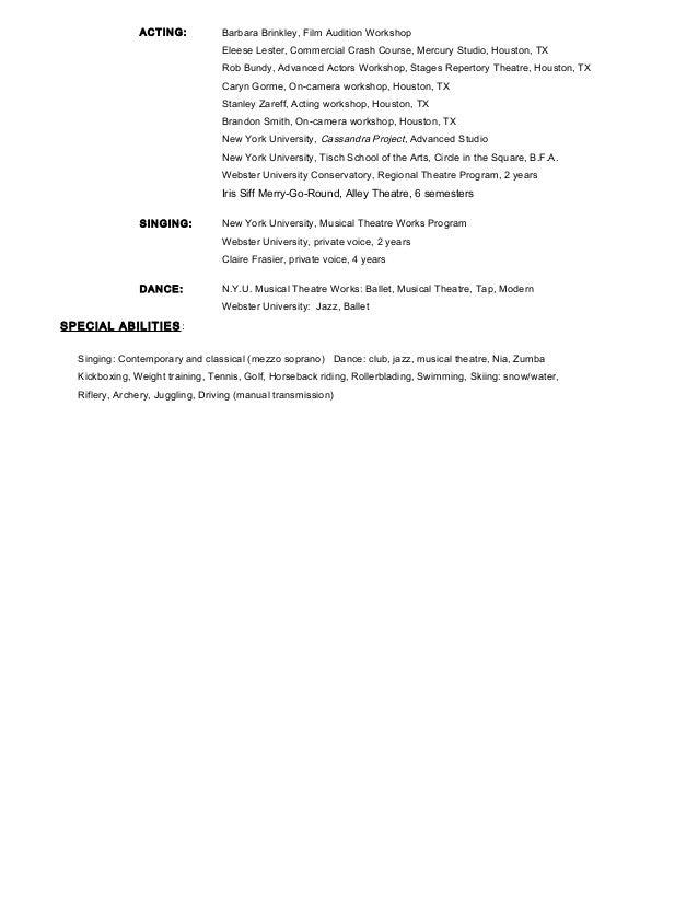 Sample Of Acting Resume Template Http Www Resumecareer Info Anastasia Coon  Sample Acting Resume
