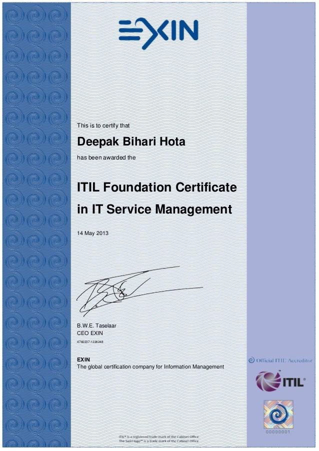 Certificate Itil V3 Foundation
