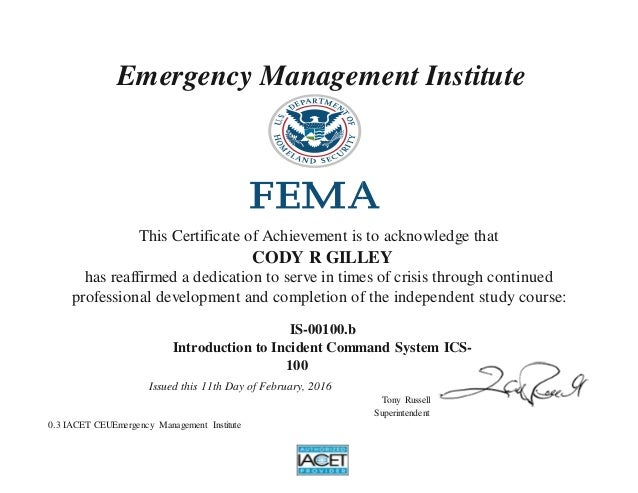 an introduction to the incident command system ics View introduction to the incident command system (ics 100) for healthcare_hospitals _ fema emergency mana from nursing 468 at texas a&m university 2/20/2018 is-100hcb - introduction to the incident.