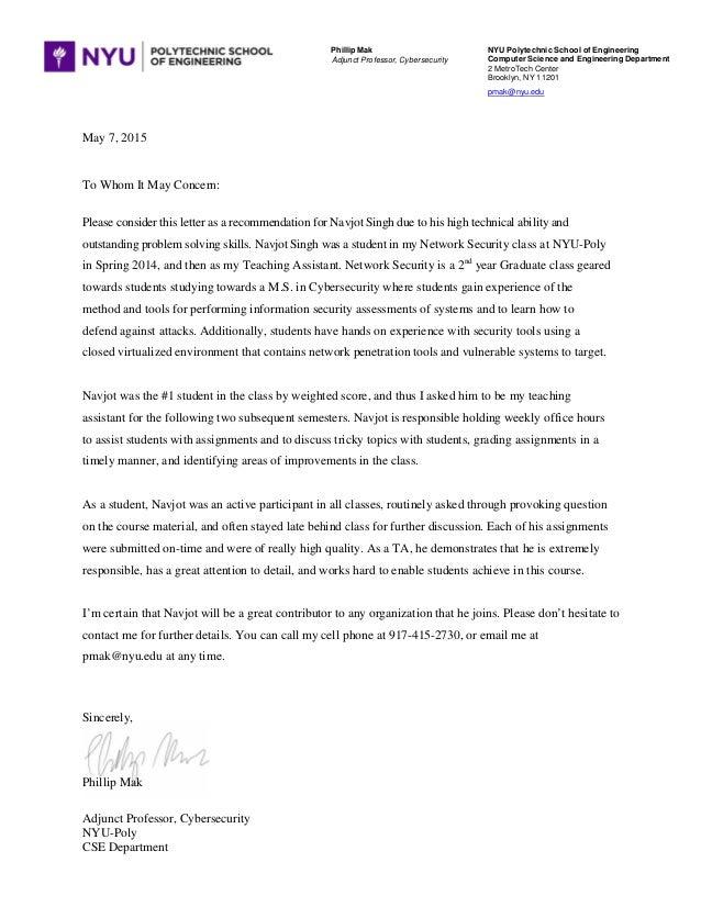 singh navjot recommendation letter