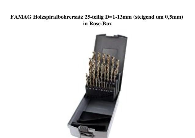 FAMAG Holzspiralbohrersatz 25-teilig D=1-13mm (steigend um 0,5mm) in Rose-Box