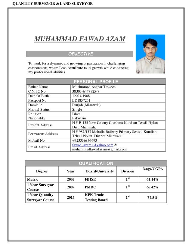 Fawad cv quantity surveyor land surveyor muhammad fawad azam objective to work for a dynamic and growing yelopaper Gallery
