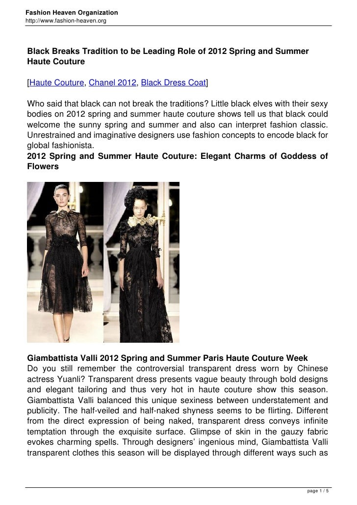 Fashion Heaven Organizationhttp://www.fashion-heaven.orgBlack Breaks Tradition to be Leading Role of 2012 Spring and Summe...